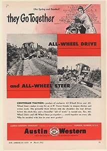 1952 Austin Western Power Grader All-Wheel Drive and Steer Spring Baseball Print Ad (Memorabilia) (58974)