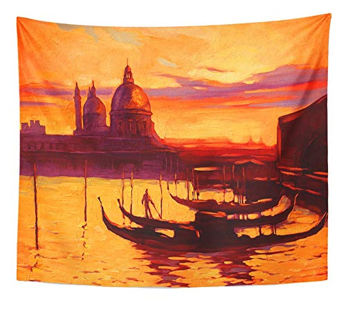 (Emvency Tapestry Artwork Wall Hanging Landscape Promenade and Pier with Gondola in Venice Oil Painting on Canvas Boat 50x60 Inches Tapestries Mattress Tablecloth Curtain Home Decor Print)