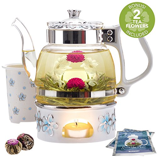 Teabloom Princess of Monaco Teapot & Blooming Tea Gift Set (6 Pieces) - 34 oz Borosilicate Glass Teapot, Porcelain Lid, Teapot Warmer, Porcelain Tea Infuser + 2 Berry Flowering Teas (Porcelain Infuser)