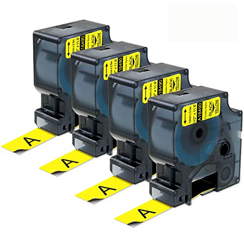 4-Pack Compatible Industrial Label Tape Replacement for DYMO 18490 Flexible Nylon Labels for DYMO Industrial Rhino 4200, 5200, 5000, 6000 Label Maker and More, Black on Yellow, 1/2 x 11.5