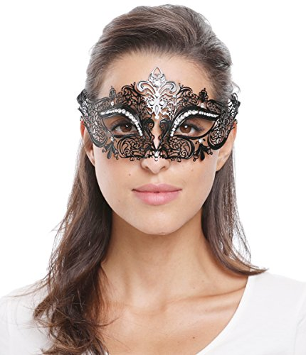 Masquerade Ball Costume Ideas For Women (Bellady Shiny Metal Rhinestone Venetian Pretty Party Evening Prom Mask,Style3_Black)