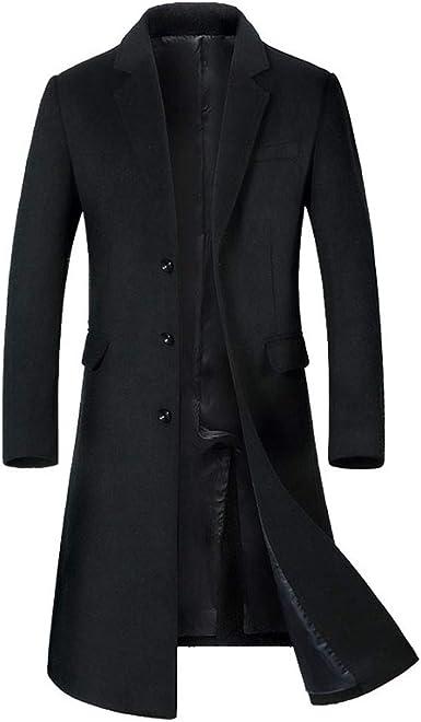 Men/'s Winter Fashion Casual Jacket Wool Blend Coat Collar Outwear Overcoat Black