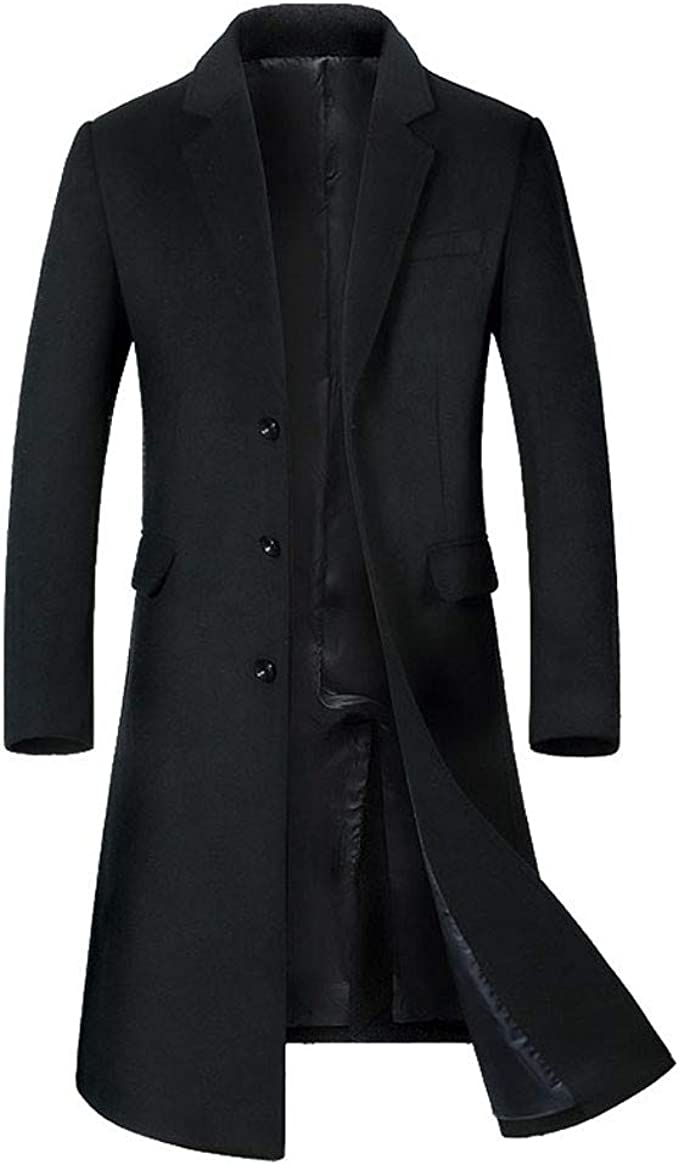 Outwear Men Wool Blend Winter Trench Coat Long Jacket Zip Button Hoodie Overcoat