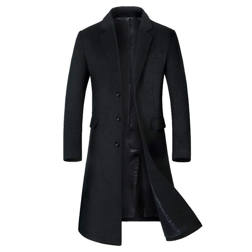 Allywit Men's Trench Coat Wool Business Gentlemen Winter Long Pea Coat Overcoat Black by Allywit
