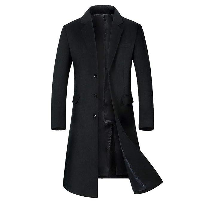 Hombres Slim Elegante Manga Larga Trench Coat Larga Parka Abrigo ... a006fbae16c3