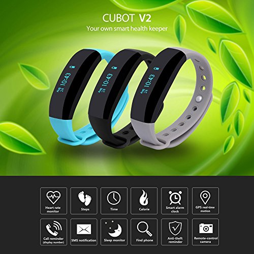 CUBOT V2 Smart Wristband Ftness TrackerHeart Rate Monitor Real-time GPS for iOS, android OLED (Black)