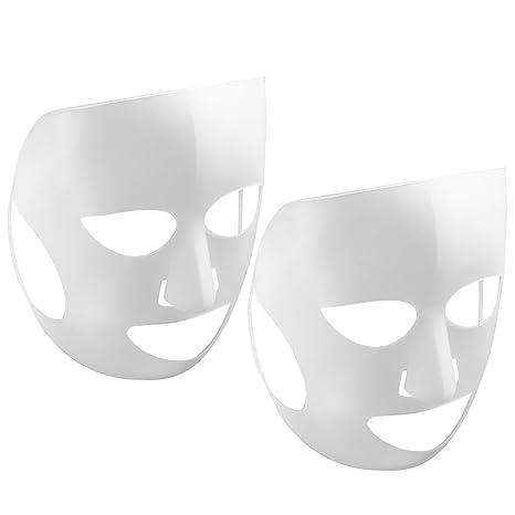 Frcolor 2pcs Silikon Gesichtsmaske Feuchtigkeitsmaske Tuchmasken Gesicht wiederverwendbare für Blattmaske (weiß)