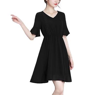 Robe en Mousseline De Soie De Cloche De Manches Longues pour Femmes Taille  Haute Longue Jupe 7ab9984aa8fe