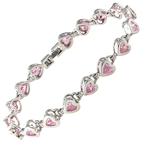 RIZILIA Hearts Tennis Bracelet & Heart Cut CZ [Simulated Pink Sapphire] in White Gold Plated, 7