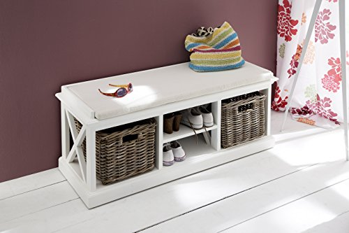 NovaSolo Halifax Pure White Mahogany Wood Storage Bench With Cushion, Shelf And 2 Rattan Baskets by NovaSolo