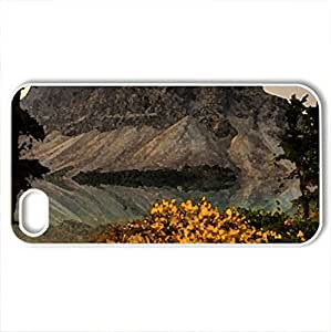 Autumn in mountains - Case Cover for iPhone 4 and 4s (Mountains Series, Watercolor style, White)