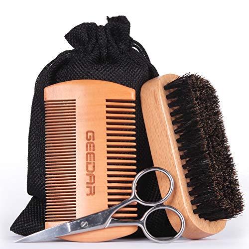 Beard Grooming Kit Beard Brush & Comb Set for Men Boar Bristle Hair Brush Gift Box & Travel Bag Great for Grooming Dry or Wet Beard