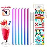 "Set of 6 Stainless Steel Boba Straws with Cleaning Brush & Angled-Tip with Carry Bag by Teivio, Jumbo Drinks Wide Bubble Tea & Smoothie Straw with Silicone Tips, 12mm/0.5"" Wide, Rainbow, Multicolor"
