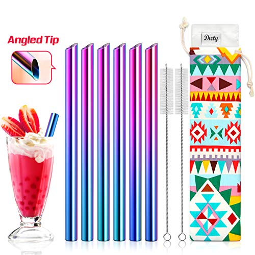 - Set of 6 Stainless Steel Boba Straws with Cleaning Brush & Angled-Tip with Carry Bag by Teivio, Jumbo Drinks Wide Bubble Tea & Smoothie Straw, 12mm/0.5