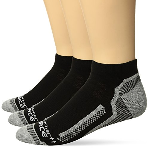 Carhartt Men's 3 Pack Force Performance Work Low Cut Socks, Black, Shoe Size: ()