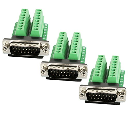 Twinkle Bay DB25 Male Connector Breakout Board RS232 Serial to DSUB Terminal Block Connector Signal Module 4 Pack