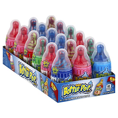 Baby Bottle Pop Original Candy Lollipops with Dipping Powder, Assorted Flavors, 1.1 oz (Pack of 18)