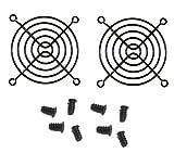 80mm Black Fan Finger grills with screws (2 pack)