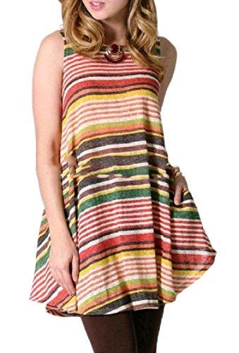 O Dress Floral Sleeveless Mini A Coolred Print Women Orange Neck Line Club Stylish Striped pXPq7PwE