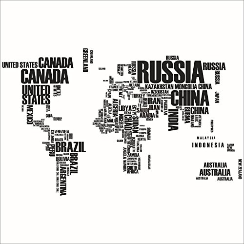 iNewcow Wall Decals Decor Wall Pops Wallpapers Letters World Map Sticker Black Color