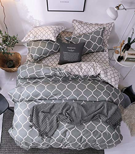 Shatex 5 Pieces Bedding Comforter SetsQueen Set 100% Microfiber Polyester Gray Geometric Pattern Bed in a Bag