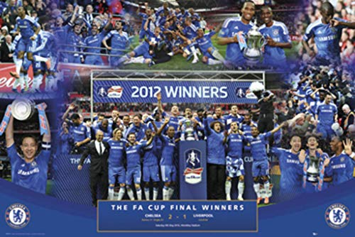 GB Eye Limited Chelsea FA Cup 2011 2012 Winners Soccer Football Sports Photo Collage Poster 36x24 inch