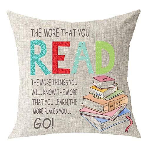 Linen Cotton Club - AMallory Read Books Study Library Classroom Read Club Bow Cotton Linen Square Throw Waist Pillow Case Decorative Cushion Cover Pillowcase Sofa 18