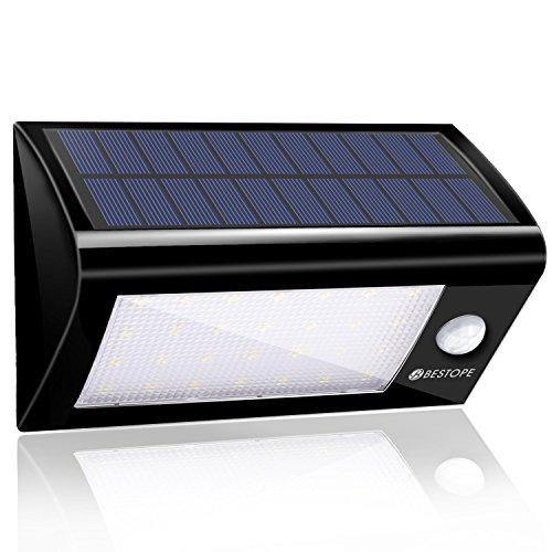 Solarleuchten Garten BESTOPE Solar Wandleuchte Solarlampe mit Bewegungsmelder Aussenleuchten Drahtlose IP65 Sicherheitslicht Lampen 28 Stücke LED für Wand, Garten, Terrasse, Treppen