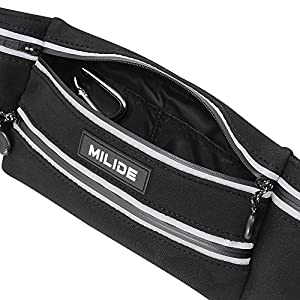 MILIDE Running Waist Bag Belt With Reflective Strips | Waterproof Canvas, Comfy Fit, Zipper Pockets & Adjustable Buckles | Fanny Pack For Men, Women, Hiking, Travel, Workouts, Sports, Training & More