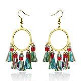 SEWEI Colorful Short Tassel Earrings Handmade Elegant Drop Earrings (ring)