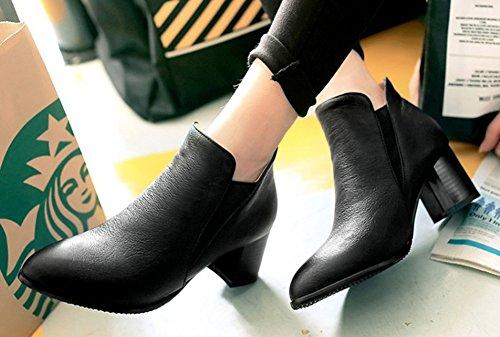 Aisun Femmes Simple Confortable Bout Pointu Robe Slip Sur Chunky Talons Hauts Tops Booties Noir