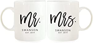 Andaz Press Personalized Name11oz. Ceramic Coffee Mugs Valentine's Day Wedding Anniversary Couples Gift Set, Mr. Mrs. Johnson Est. 2020, Script Style, 2-Pack, Custom Names, Long Distance Gift Ideas