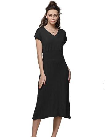 d6f6a23509c FINCATI Black Dress Women Spring Summer Cashmere Wool Slim Sexy Ribbed  Elbow Knee-Length Sweater
