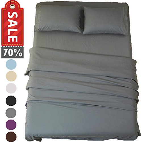 SONORO KATE Bed Sheet Set Super Soft Microfiber 1800 Thread Count Luxury Egyptian Sheets 18-Inch Deep Pocket Wrinkle and Hypoallergenic-4 Piece(King Dark Grey)