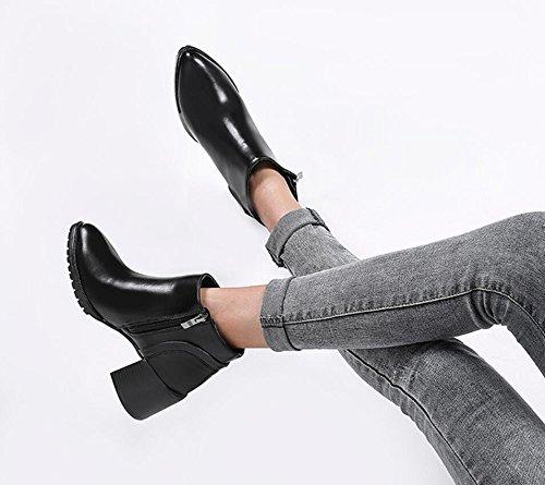 KHSKX-Nuevos zapatos de tacón afilado de las mujeres europeas y americanas cierre de cremallera en el lado corto botas botas de tacon alto pelado Martin botas zapatos de mujer black