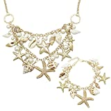 RechicGu Holiday Beach Seashell Ocean Sea Life Starfish Gold Charms Statement Bib Bracelet Necklace Party