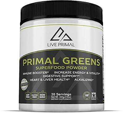 Primal Greens -Natural And Organic Green Superfood Supplement Powder, Enriched With Vitamin C, Moringa, Green Tea, Spirulina, Milk Thistle, Chlorella, Kelp, Maca and Astragalus Root, 10 ounces