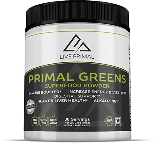 Primal Greens -Natural and Organic Green Superfood Supplement Powder, Enriched with Vitamin C, Moringa, Green Tea, Spirulina, Milk Thistle, Chlorella, Kelp, Maca and Astragalus Root, 10 Ounces