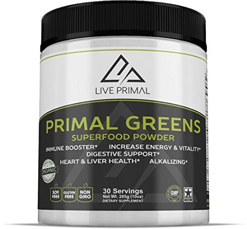 Primal Greens -Natural and Organic Green Superfood Supplement Powder, Enriched with Vitamin C, Moringa, Green Tea, Spirulina, Milk Thistle, Chlorella, Kelp, Maca and Astragalus Root, 10 Ounces ()