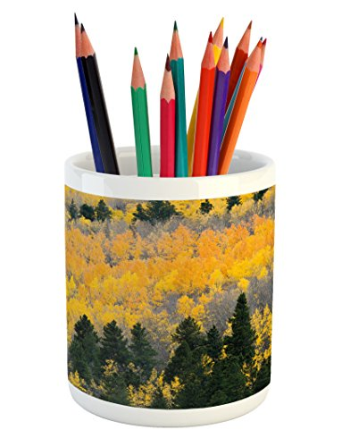 Ambesonne Fall Pencil Pen Holder, Colorful Aspen Forest in Colorado Rocky Mountains Western Wilderness USA Theme, Printed Ceramic Pencil Pen Holder for Desk Office Accessory, Green Yellow ()