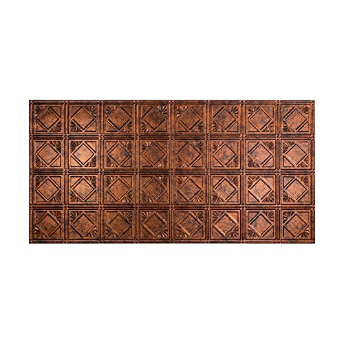 FASÄDE Easy Installation Traditional Style/Pattern #4 Moonstone Copper Glue Up Ceiling Tile/Ceiling Panel (One 2' x 4' Tile)