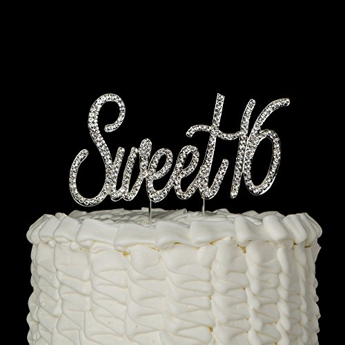Sweet 16 Cake Topper Crystal Rhinestone 16th Birthday Decoration Party Supplies (