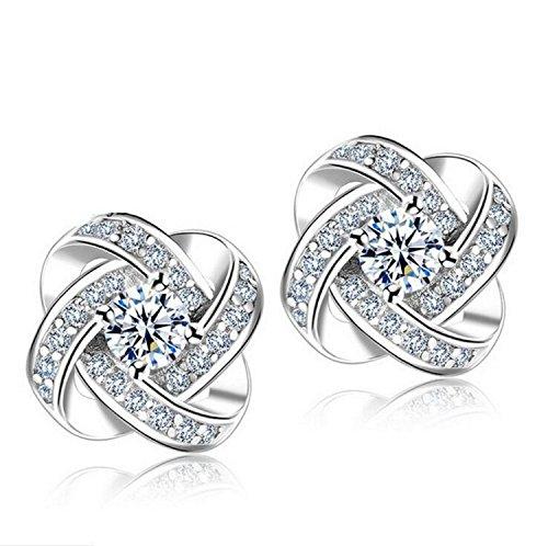 Creativelife Women's S925 Silver Eternal Star Zircon Earrings Korean Fashion Earrings (18k White Gold Diamond Pearl)