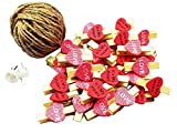 [Hearts] 50 Pcs Cute Wooden Photo Clips Craft Photo Paper Pegs Clothespins