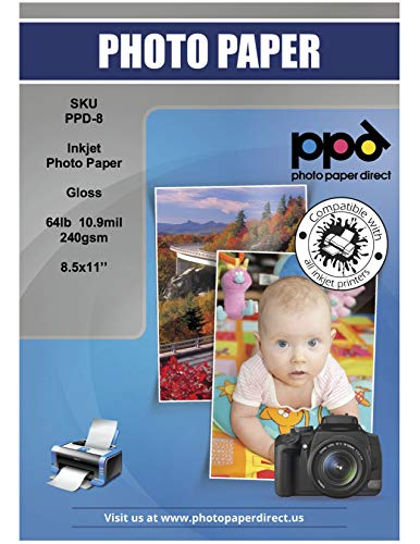 Heavyweight Inkjet Glossy (PPD Inkjet Glossy Heavyweight Photo Paper LTR 8.5x11'' 64lbs 240gsm 10.9mil X 50 Sheets (PPD008-50))