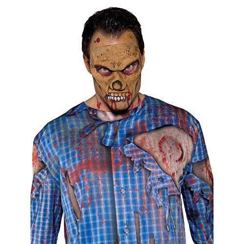 Zombie Scarecrow Mask (Underwraps Men's Zombie Mask, Tan, One Size)