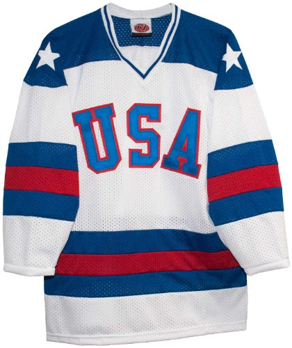 Home Hockey Jersey - White Home 1980 USA Olympic Hockey Replica Game Mesh Jersey Miracle on Ice Adult (Small)