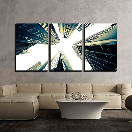 Abstract Futuristic Cityscape View with Skyscrapers Hong Kong x3 Panels