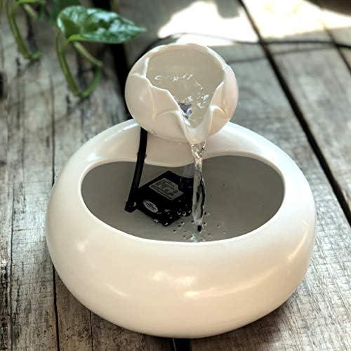 ペット水ディスペンサー、陶磁器犬猫水噴水、自動循環水噴水、猫水ディスペンサー移動式水盆地の酒飲み、陶磁器の植木鉢,White,A