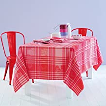 Garnier Thiebaut Coated Tablecloth Mille Zoom Framboise, 69-Inch By 98-Inch, Oblong